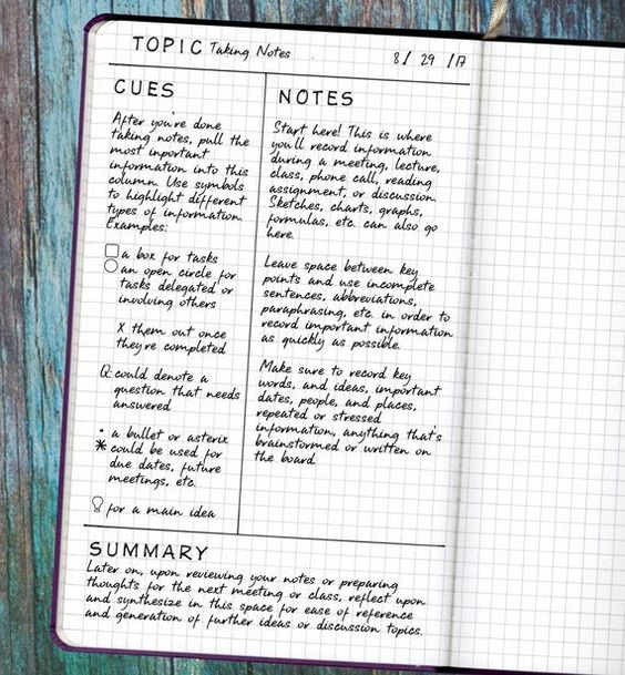 note taking for studying bujo
